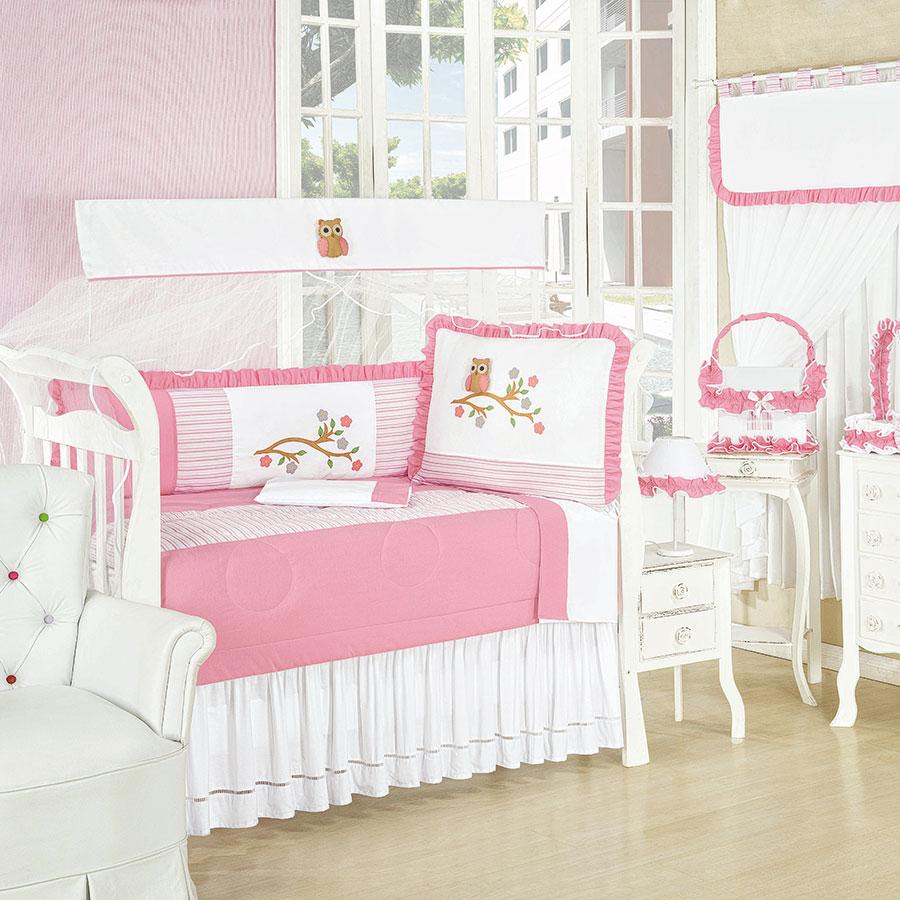 Quarto Completo Sem Bicama Enxoval Bebê Menina Corujinha Rosa ~ Quarto Solteiro Completo Rosa