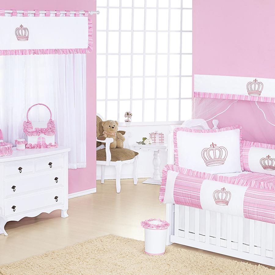 Quarto de Bebê Coroa Rosa Essencial Enxovais ~ Quarto Rosa De Princesa