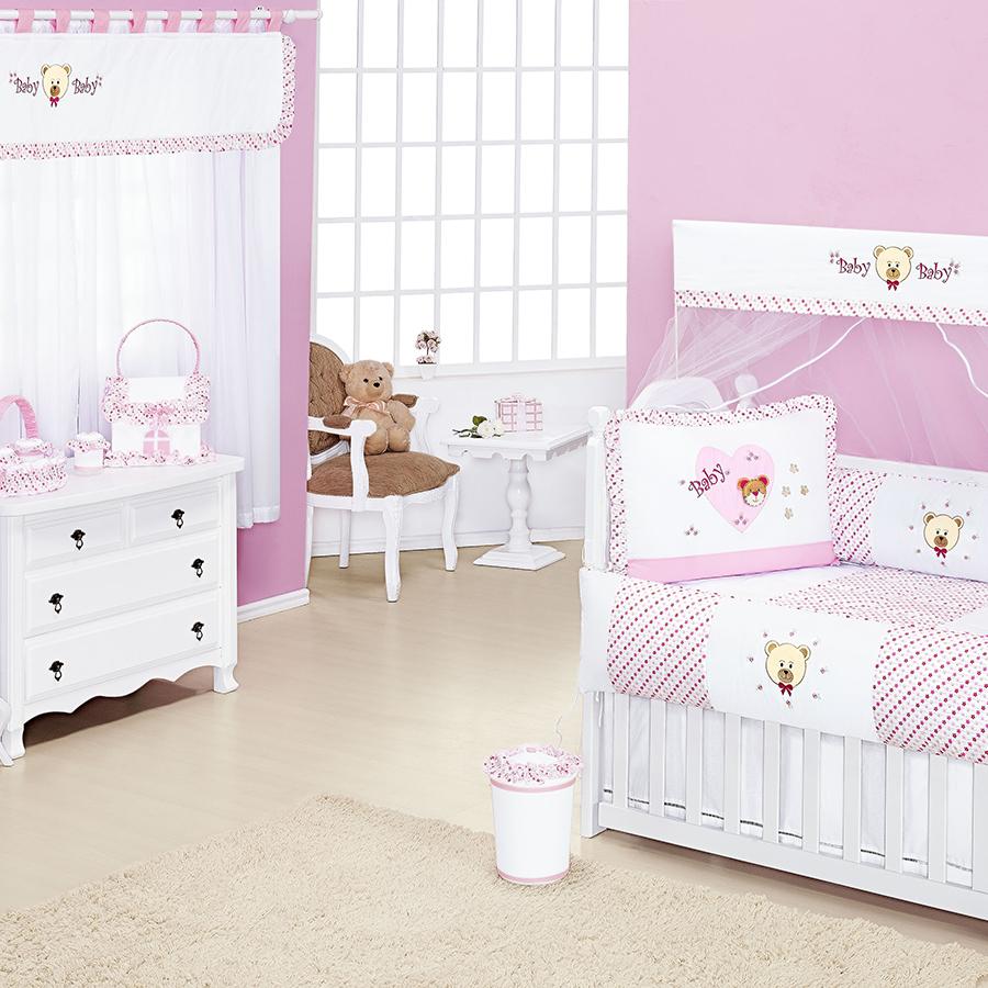 Quarto de Bebê Carinhosa Rosa Essencial Enxovais ~ Quarto Solteiro Completo Rosa
