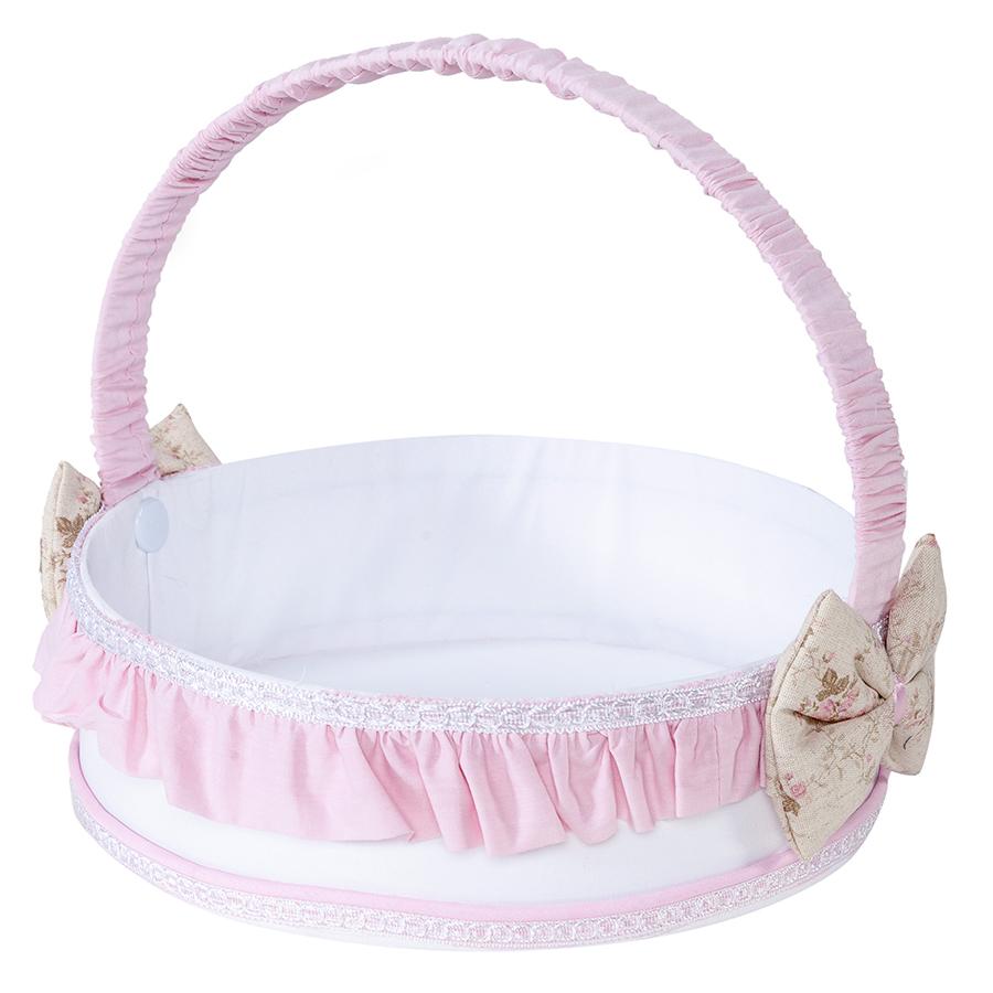 Cesta decorada para quarto de bebê menina cor branco com detalhe rosa