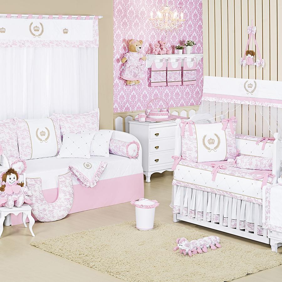 Quarto de Bebê Majestade Rosa Essencial Enxovais ~ Quarto Solteiro Completo Rosa