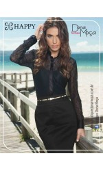 CAMISA HAPPY RENDA BLACK