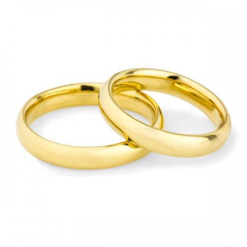 Par de Alianças Casamento e Noivado Anatômica em Ouro 18K / 750