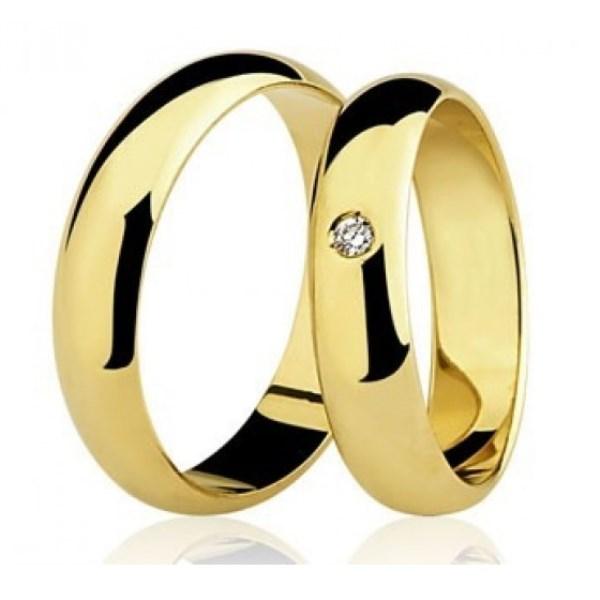 Par de Aliança Casamento e Noivado em Ouro 18K / 750 com Diamante 0,01Cts