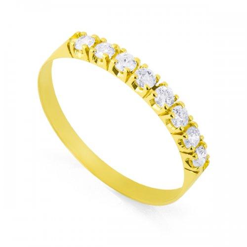 Meia aliança em Ouro 18k / 750 com 8 Diamantes de 3 pontos