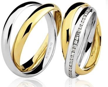 Par de Aliança Casamento e Noivado em Ouro Branco e Amarelo 18K / 750 com 5mm e Brilhantes
