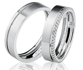 Par de Aliança Casamento e Noivado em Ouro Branco 18K / 750 com 4mm e Brilhantes