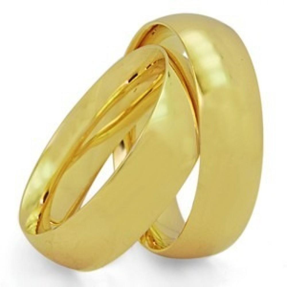 Par de Aliança Casamento e Noivado em Ouro 18K / 750 Anatômico com 7mm