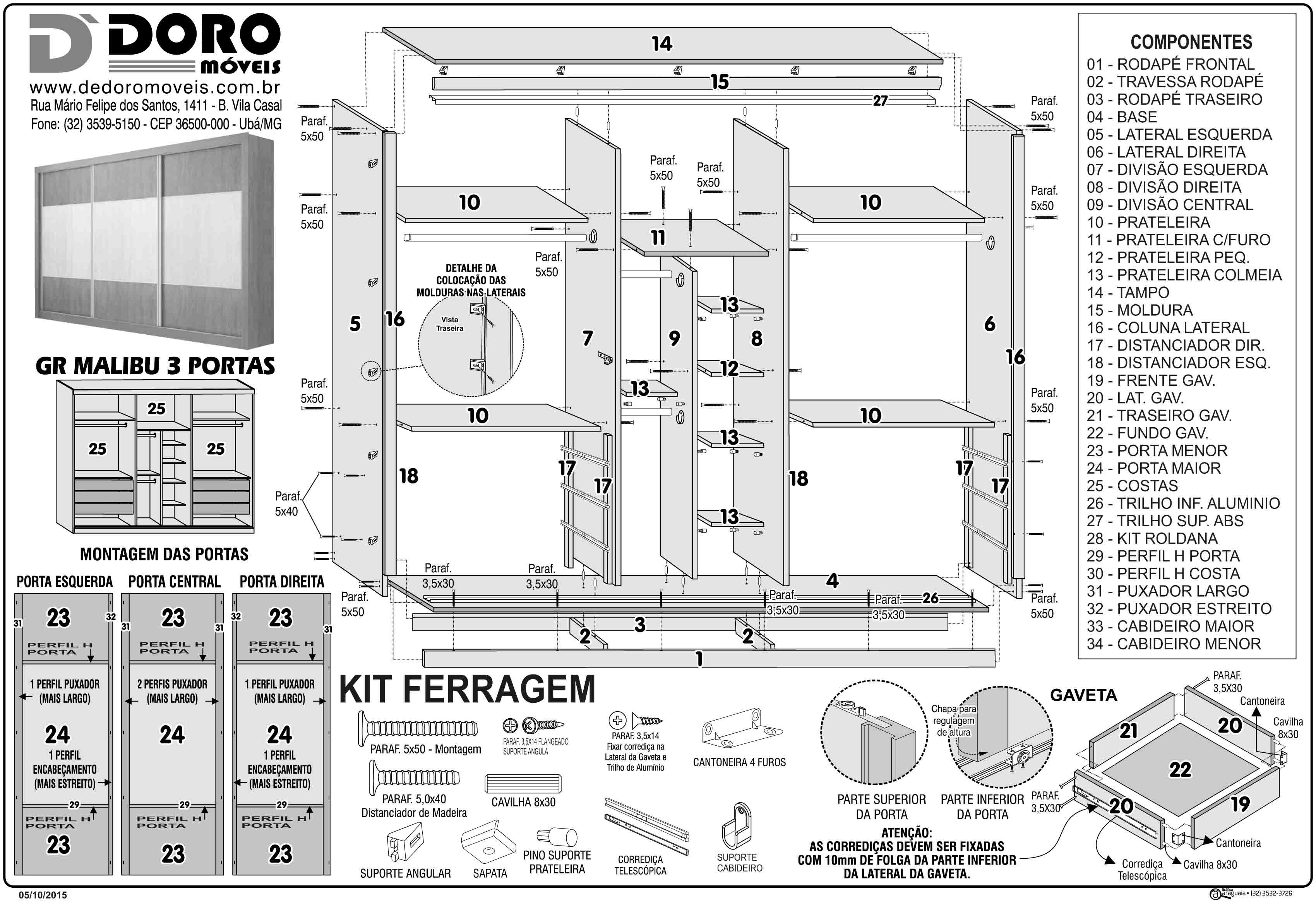 #2E2E2E Guarda roupa 3 portas de correr com espelho Largura 2 75m Malibu  832 Manual De Montagem De Janela De Aluminio