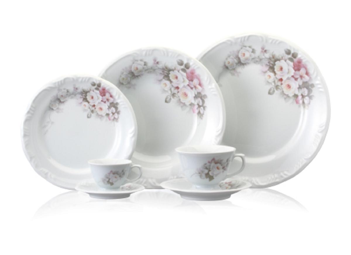 Aparelho de Jantar Chá e Café Schmidt com 42 Peças em Porcelana  #824C49 1200x873