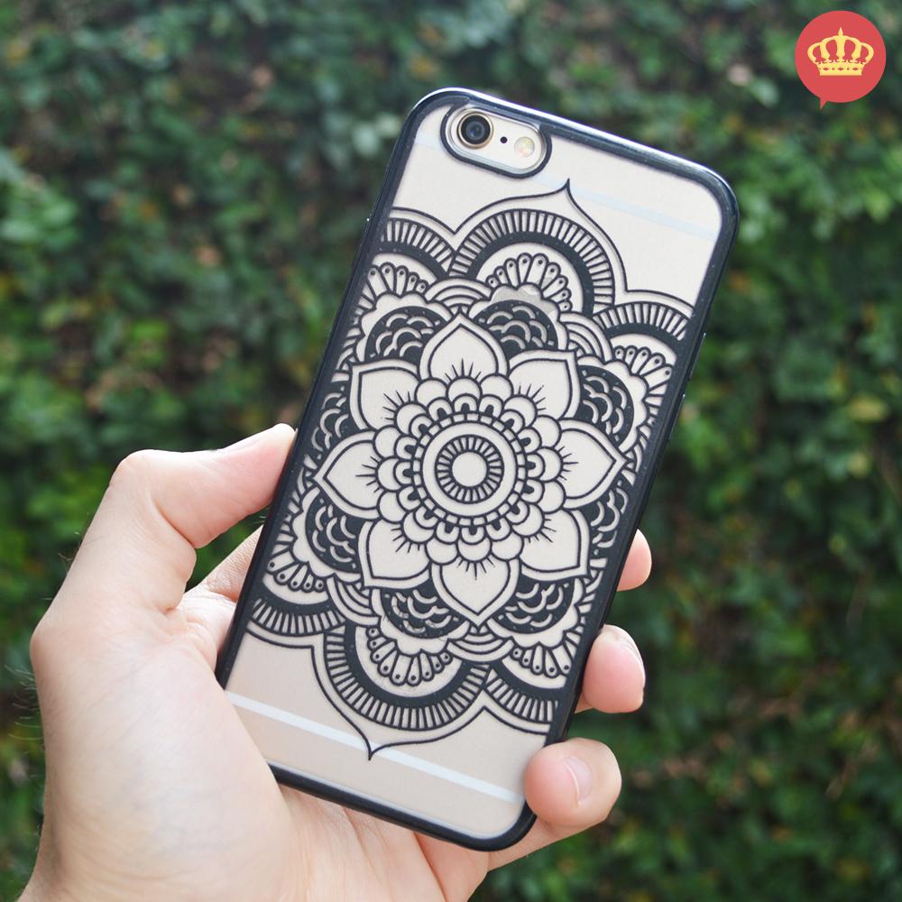 Capinha de Silicone Transparente Alto Relevo Mandala para iPhone 6/6S