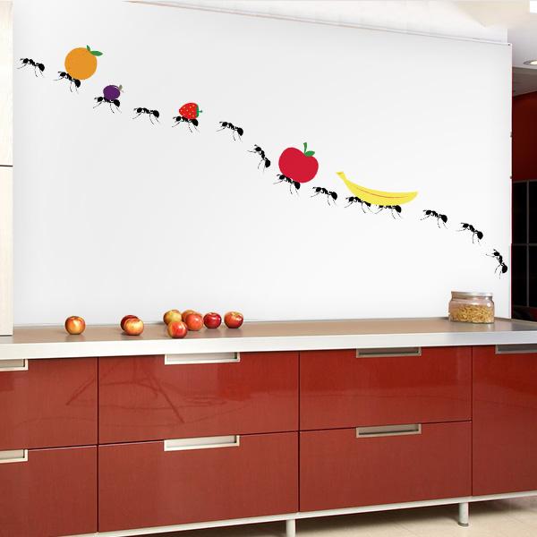 Adesivo de parede para cozinha formigas carregando frutas for Papel decorativo para armarios