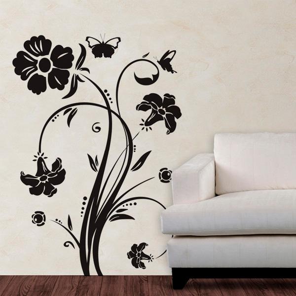 Aparador Tampo De Vidro Branco ~ Adesivo de Parede Floral Modelo 01 (flores e borboletas
