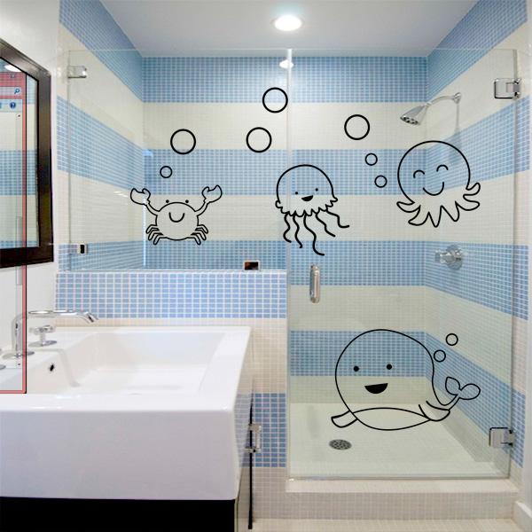 Adesivo para Box de Banheiro Fundo do Mar 1  Fran Adesivos -> Adesivo Para Decoracao De Banheiro