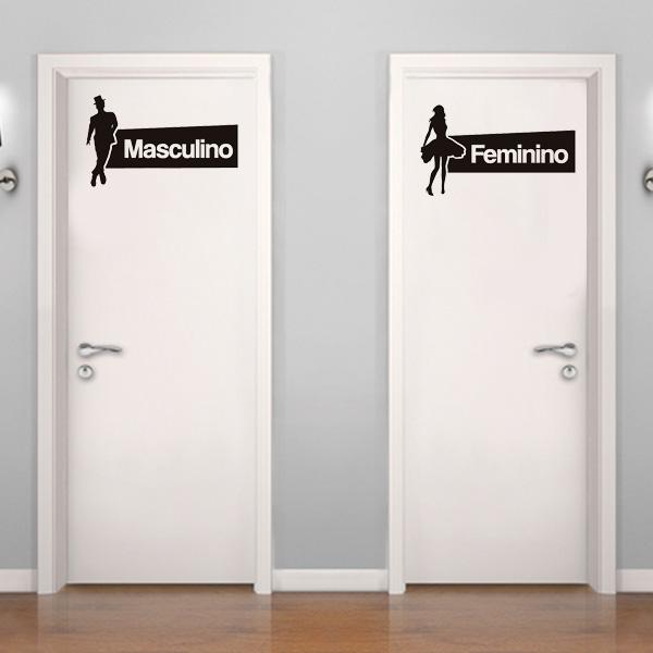 Adesivo de Parede  Placa de banheiro masculino e feminino  Fran Adesivos -> Banheiro Feminino Desenho