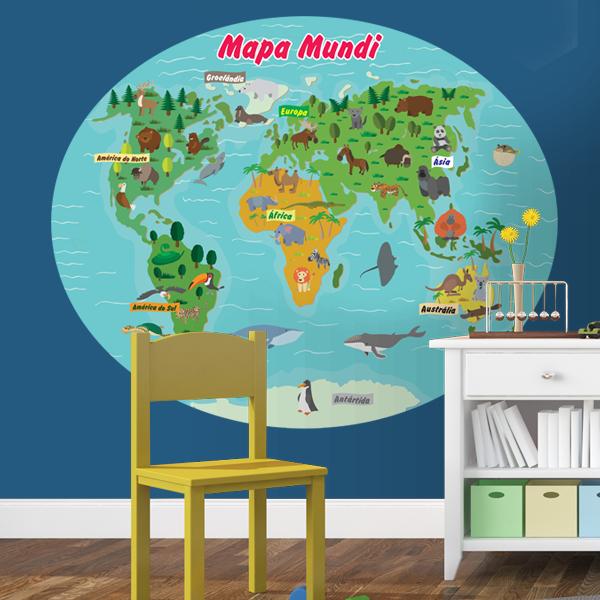 Aparador Verde Musgo ~ Adesivo de Parede Mapa Mundi Infantil Mapa do Mundo Infantil Fran Adesivos